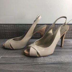 Guess Y2K slingback patent beige sandals size 9